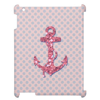GIRLY PINK GLITTER ANCHOR DOTS PATTERN iPad CASE