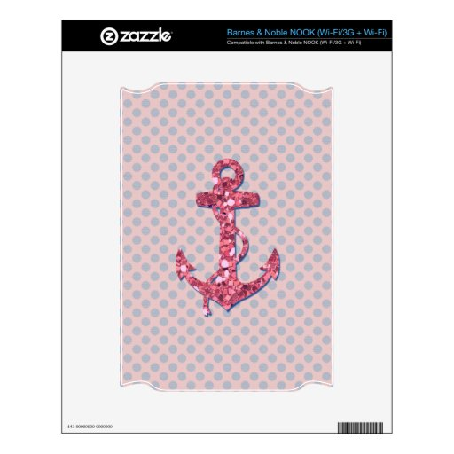 GIRLY PINK GLITTER ANCHOR DOTS PATTERN NOOK SKINS