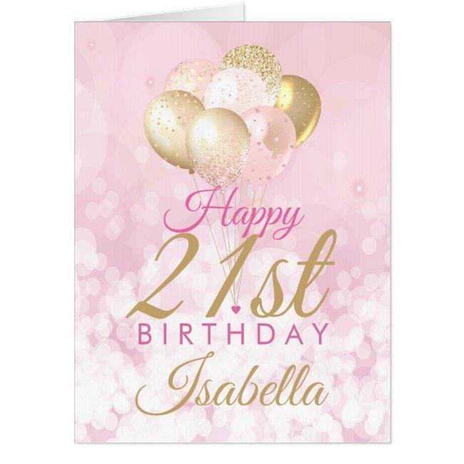 Girly Pink Glitter Balloons 21st birthday BIG Card