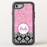 Girly, Pink, Glitter Black Damask Otterbox Defender Iphone 7 Case at Zazzle