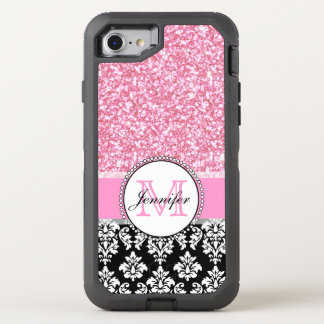 Girly, Pink, Glitter Black Damask OtterBox Defender iPhone 7 Case