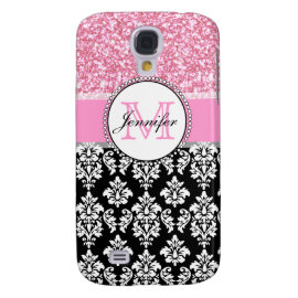 Girly, Pink, Glitter Black Damask Personalized