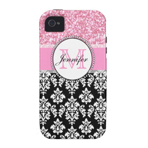 Girly, Pink, Glitter Black Damask Personalized Case-Mate iPhone 4 Covers