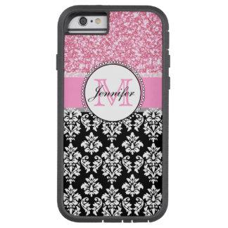 Girly, Pink, Glitter Black Damask Personalized Tough Xtreme iPhone 6 Case