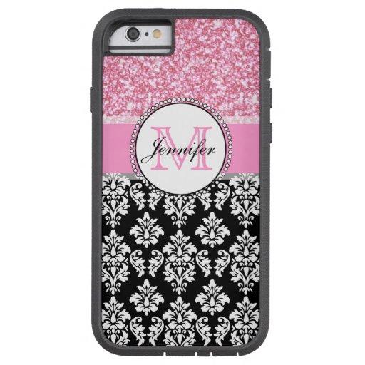 Girly, Pink, Glitter Black Damask Personalized iPhone 6 Case