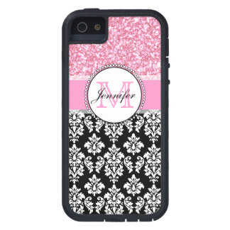 Girly, Pink, Glitter Black Damask Personalized iPhone 5 Cover