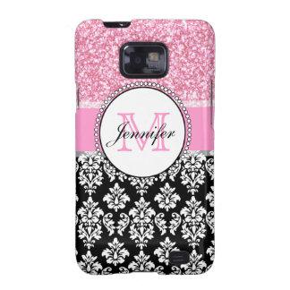 Girly, Pink, Glitter Black Damask Personalized Galaxy SII Cover