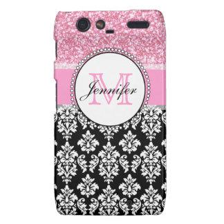 Girly, Pink, Glitter Black Damask Personalized Motorola Droid RAZR Cases