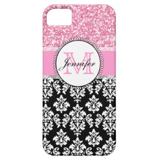 Girly, Pink, Glitter Black Damask Personalized iPhone 5 Cases