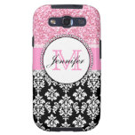 Girly, Pink, Glitter Black Damask Personalized Galaxy S3 Cover