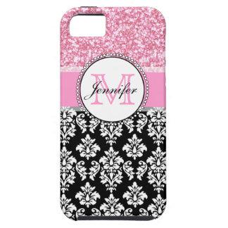 Girly, Pink, Glitter Black Damask Personalized iPhone 5 Case