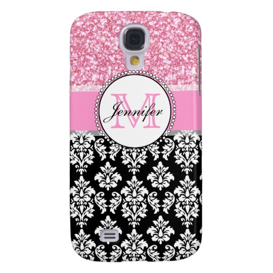 Girly, Pink, Glitter Black Damask Personalized Galaxy S4 Case