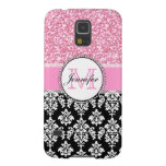 Girly, Pink, Glitter Black Damask Personalized Galaxy S5 Case