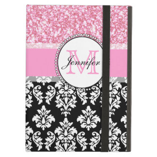 Girly, Pink, Glitter Black Damask Personalized iPad Air Covers