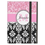 Girly, Pink, Glitter Black Damask Personalized iPad Cover