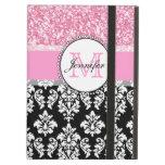 Girly, Pink, Glitter Black Damask Personalized iPad Cover