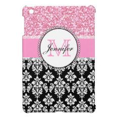 Girly, Pink, Glitter Black Damask Personalized Ipad Mini Case at Zazzle