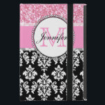 """Girly, Pink, Glitter Black Damask Personalized iPad Mini Case<br><div class=""""desc"""">Girly,  pink glitter image printed,  black and white damask pattern you can personalize with your monogram Initial and your name. A cute design for her.</div>"""