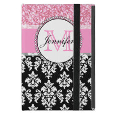 Girly, Pink, Glitter Black Damask Personalized iPad Mini Case