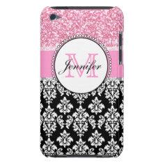 Girly, Pink, Glitter Black Damask Personalized Ipod Touch Case at Zazzle