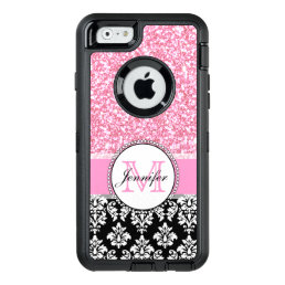 Girly, Pink, Glitter Black Damask Personalized OtterBox Defender iPhone Case