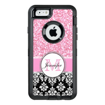 Girly  Pink  Glitter Black Damask Personalized Otterbox Defender Iphone Case by DamaskGallery at Zazzle