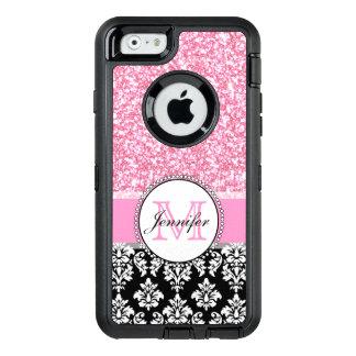 Girly, Pink, Glitter Black Damask Personalized OtterBox iPhone 6/6s Case