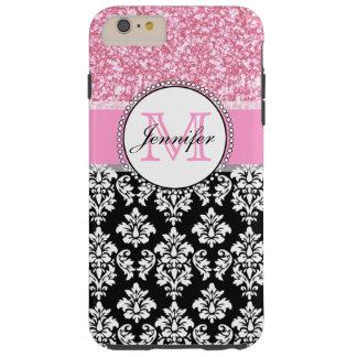 Girly, Pink, Glitter Black Damask Personalized Tough iPhone 6 Plus Case