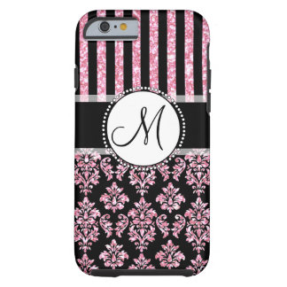 Girly, Pink Glitter, Black Damask Your Monogram Tough iPhone 6 Case