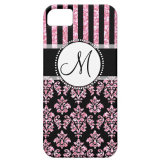 Girly, Pink Glitter, Black Damask Your Monogram iPhone 5 Covers