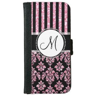 Girly, Pink Glitter, Black Damask Your Monogram iPhone 6 Wallet Case