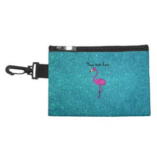 Girly Pink glitter flamingo turquoise glitter Accessory Bag