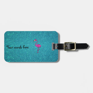 Girly Pink glitter flamingo turquoise glitter Tags For Luggage