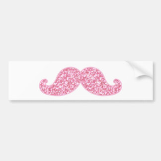 GIRLY PINK GLITTER MUSTACHE PRINTED BUMPER STICKER