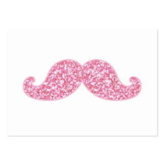 GIRLY PINK GLITTER MUSTACHE PRINTED BUSINESS CARDS