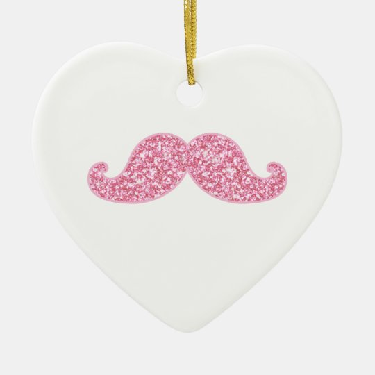 GIRLY PINK GLITTER MUSTACHE PRINTED CERAMIC ORNAMENT