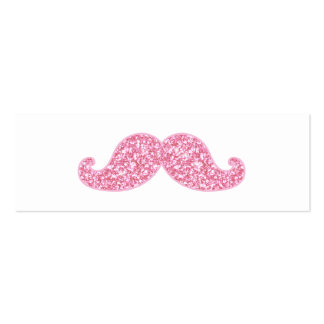 GIRLY PINK GLITTER MUSTACHE PRINTED Double-Sided MINI BUSINESS CARDS (Pack OF 20)
