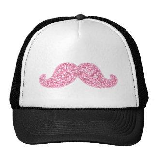 GIRLY PINK GLITTER MUSTACHE PRINTED TRUCKER HAT