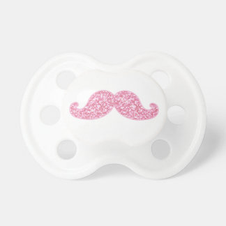 GIRLY PINK GLITTER MUSTACHE PRINTED PACIFIER