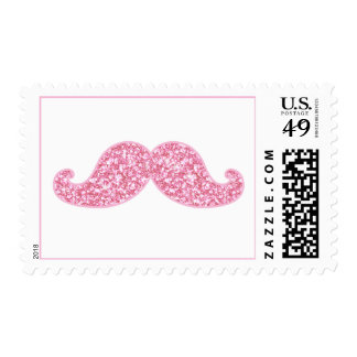 GIRLY PINK GLITTER MUSTACHE PRINTED POSTAGE STAMPS