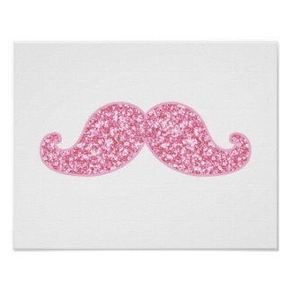 GIRLY PINK GLITTER MUSTACHE PRINTED POSTER