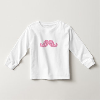 GIRLY PINK GLITTER MUSTACHE PRINTED TODDLER T-SHIRT