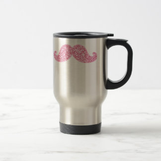 GIRLY PINK GLITTER MUSTACHE PRINTED TRAVEL MUG