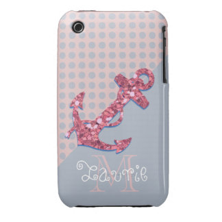 GIRLY PINK GLITTER NAUTICAL ANCHOR iPhone 3 CASE