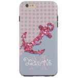 GIRLY PINK GLITTER NAUTICAL ANCHOR TOUGH iPhone 6 PLUS CASE