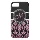 Girly Pink Glitter Printed Black Damask Monogram iPhone 7 Case