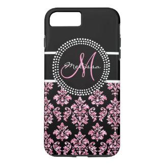 Girly Pink Glitter Printed Black Damask Monogram iPhone 7 Plus Case