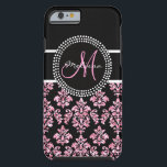 "Girly Pink Glitter Printed Black Damask Monogram Tough iPhone 6 Case<br><div class=""desc"">Girly,  fun,  yet sophisticated,  black and pink damask pattern with PRINTED pink glitter and your monogram Initial and your name. Customize to your monogram initial and your name to personalize your design. The perfect,  fashion accessory gift for her. Design by Elke Clarke &#169; for Damask Gallery &#169;.</div>"