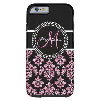 Girly Pink Glitter Printed Black Damask Monogram Tough iPhone 6 Case