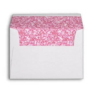 Girly Pink Glitter Printed Envelopes